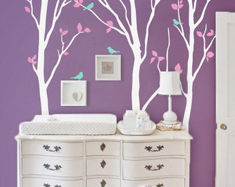 """Baby Nursery Wall Decals - Birch Trees Decal - Tree Wall Decal - Tree Wall Decals - Tree Wall Deca - Large: approx 92"""" x 81"""" - KC003"""