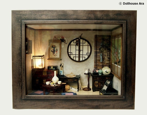 The orient traditional room (No.3) asian old things, antiques -Dollhouse Miniatures