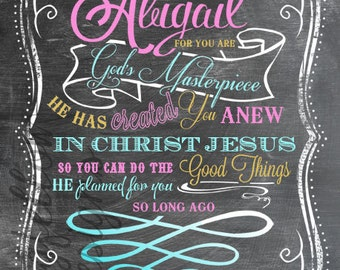 Customized Nursery Art - Girl or Boy Versions - Ephesians 2:10 - Choose customized colors or white - Vertical Print