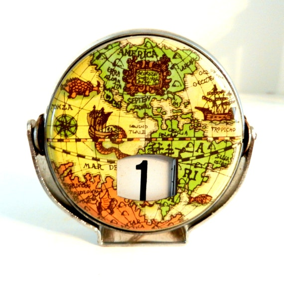 Perpetual Calendar Vintage : Vintage perpetual metal flip calendar old world map tin