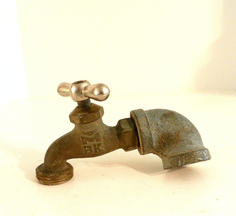 Vintage Brass Water Faucet Antique Garden Decor