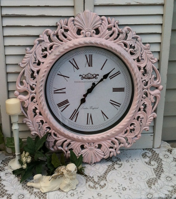 Shabby Chic Pink Baroque Wall Clock Large By Refeatheryournest