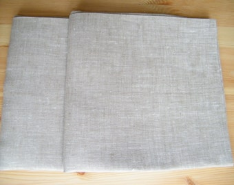 2 Natural Linen Pillowcases - Covers - Shams - Queen Size - Solid - Neutral - Pure Flax - Natural Linen - Bed Linens - Lin
