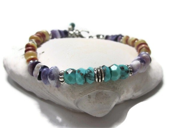 RESERVED for HOLLEY - Rare Persian Turquoise, Yellow Spiny Oyster, and Purple Tiffany Utah Stone ANKLET with Sterling Silver Beads & Charms