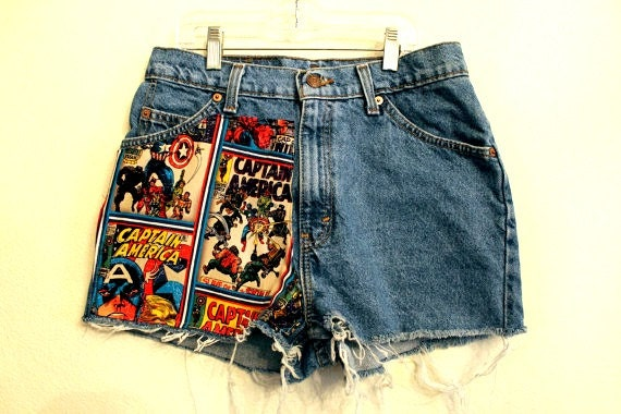 captain america High  Waisted Shorts 29 inches