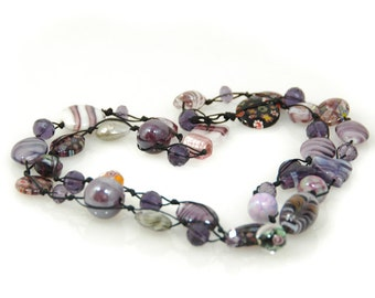 necklace all the purple shade, all different beads deep purple tones.