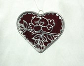 Stained Glass Heart with Love Birds Suncatcher