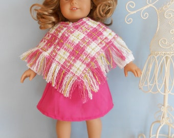 Outift for 18 inch doll, 4 pieces, Skirt, top, poncho and beret/tam/hat by Project Funway on Etsy