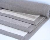 Linen Terry Bathmat / Bath Rug / Soft / Ivory / Striped / Dark Linen Colour
