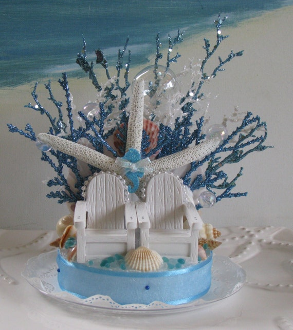 adirondack beach chairs coral reef wedding cake topper handcrafted ebay. Black Bedroom Furniture Sets. Home Design Ideas
