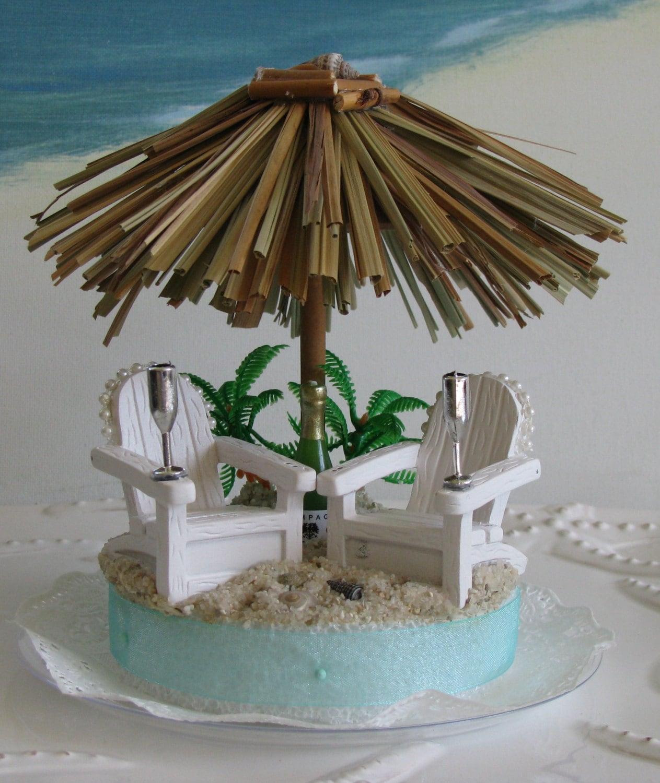 CUSTOM ORDER Tiki Umbrella Adirondack Chairs Beach Wedding