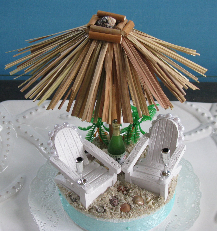 Tiki Umbrella Adirondack Chairs Beach Wedding Cake Topper