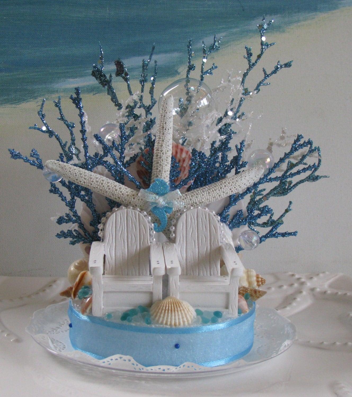 Adirondack Beach Chairs Coral Reef Wedding Cake Topper