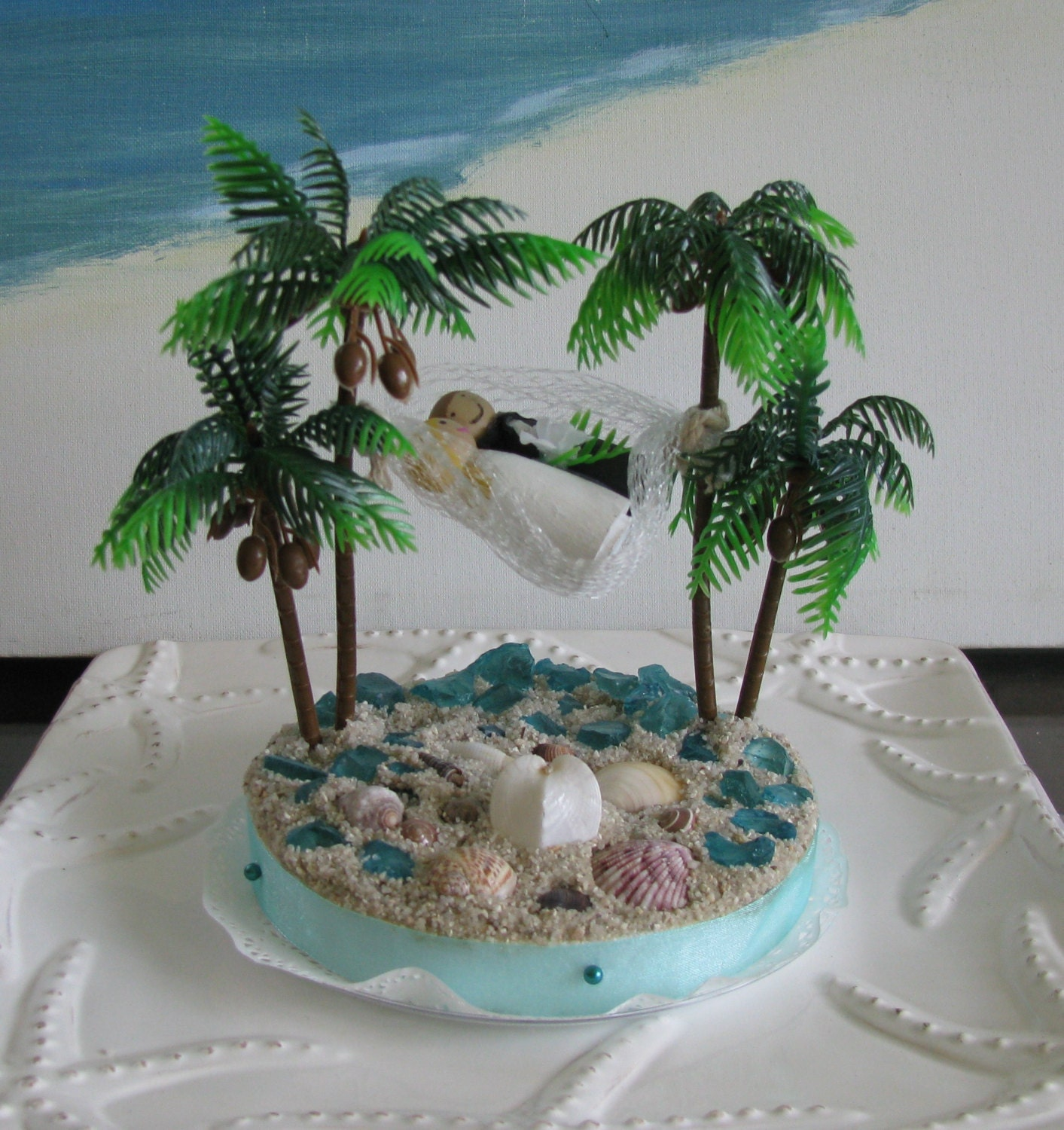 Hammock Palm Trees Beach Wedding Cake Topper-Seashell Beach