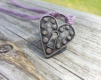Purple Hemp Heart Neckalce