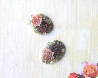 Oval glass Vintage Cabochons- Roses