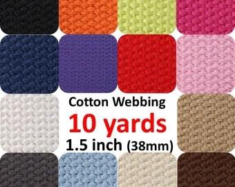 Cotton Webbing 1.5 inch 10 yards You Pick Colors Belts Purse Bag Straps Handles Leash