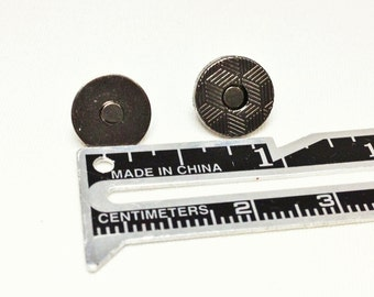 10mm 2 mm Magnetic Snaps 24 sets Gunmetal Extra Thin