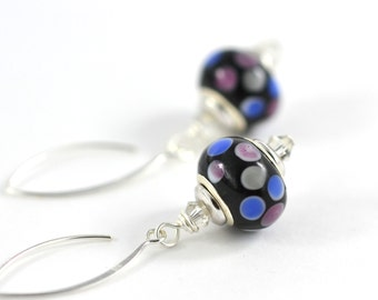 """Glass Lampwork Bead Earrings """"Olga"""" 925 Sterling Silver Ear Wires Murano Style Glass Black With Multi-Colored Dots Jewelry"""