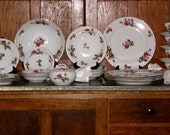 1950s Moss Rose Fine China - 27 pieces, Service for Four, Vintage China, Moss Rose Vintage China