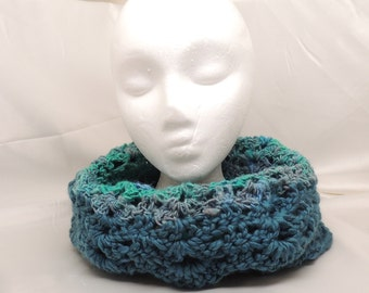 Crocheted Wool Cowl in Blue Grey Green and Teal