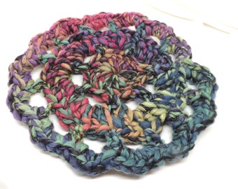 Stained Glass Window Crocheted Hot Pad or Coaster