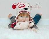 Children's Crochet Hat / Valentine's Hat / Dog / Puppy / Heart / 3 Boys & A Ball of Yarn