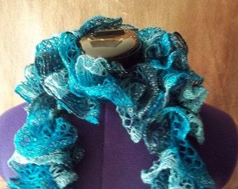 Light-Bright Blue Variegated Ruffle Scarf