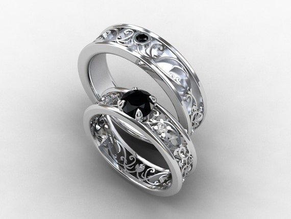 Wedding Band Set White Gold Black Diamond Wedding Band Mens