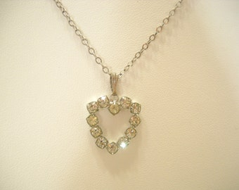 Vintage Rhinestone HEART PENDANT NECKLACE (4586) Sterling Chain