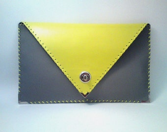 Grey and yellow leather clutch / handmade bag / Grey and yellow leather