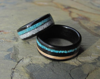 Handmade Bentwood Ebony Ring with Turquoise Mother of Pearl and Oak Inlay Anniversary Ring, Wedding Band Set