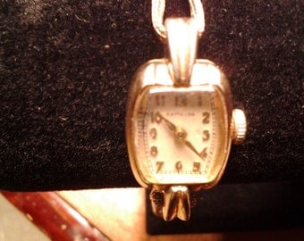Hamilton Ladies Watch, Elva, Winding, with Safety Chain, 10K Gold Filled