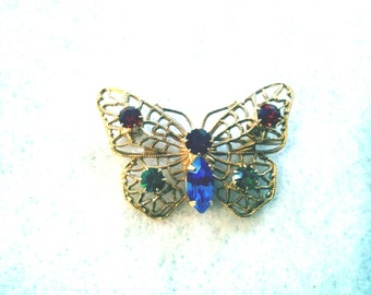 Gold Tone Butterfly Pin, Colorful Rhinestones
