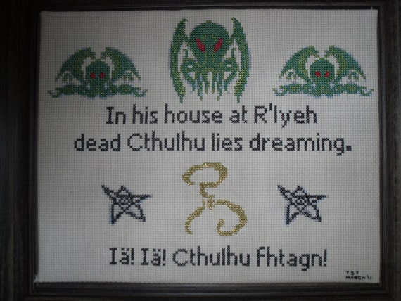 Cthulhu Lies Dreaming Cross Stitch Pattern
