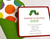 Reserved Listing for Lisa - Eric Carle The Very Hungry Caterpillar Birthday Party Invitation and Thank You Card
