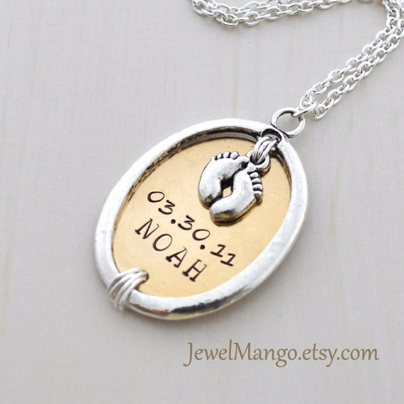 Keepsake baby Mommy necklace hand stamped baby birth necklace, mom personalized baby necklaces, Name date Perfect for new mom, baby feet