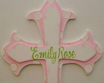Hand painted personalized kids wooden cross wall decor