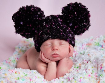 Baby Girl Hat 0 to 3 Month Black Baby Hat Hot Pink Chunky Crochet Pom Pom Hat Animal Ear Hat Photo Prop Baby Girl Clothes Photography Prop