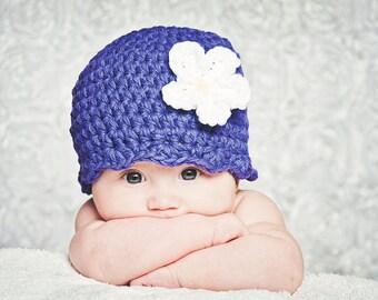 Purple Baby Hat Newborn Baby Girl Hat Newborn Girl Crochet Flower Hat Flapper Beanie Flapper Hat White Flower Baby Girl Clothes Photo Prop