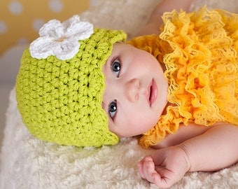 Newborn Baby Girl Hat Newborn Baby Hat Newborn Girl Hat Lime Green Baby Hat Crochet Flower Hat Flapper Beanie Photo Prop Baby Girl Clothes