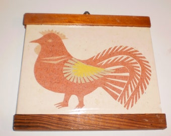 Tiny rooster art plaque