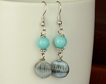 Teal and Gray Beaded Dangle Earrings