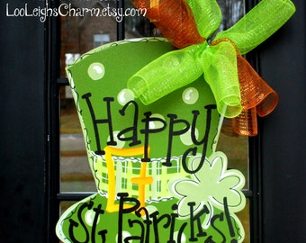 St Patricks Day Door Hanger | St Patricks Day Decorations | St Patricks Day Wreath | Leprechaun Wreath