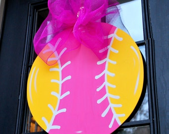 Door Hanger: Softball, Wall Decor, Sports Decor, Sports Door Decoration