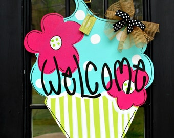 Summer Door Hanger: Cupcake, Summer, Door Decoration