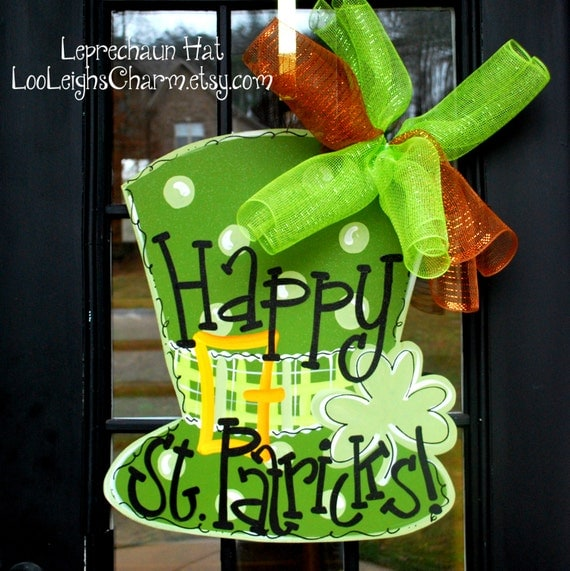 St patricks day door hanger st patricks day decorations st for Decoration saint patrick