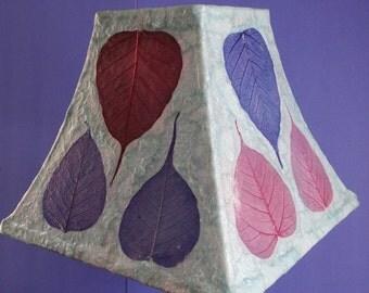 Botanical Lampshade - Medium Square Decoupage Shade using Handmade Light Blue Paper with Large Skeleton Leaves