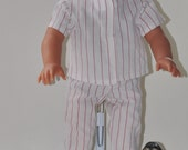 Upcycled American Girl Baseball Uniform - White with Red Stripes  (DC16)