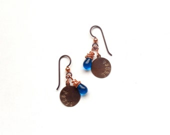 peace earrings // classic blue glass bead jewelry